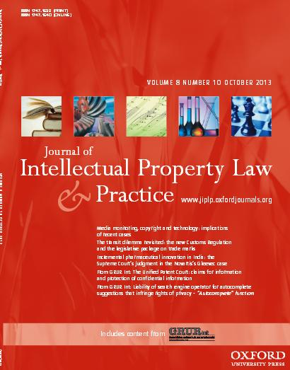 OUP JIPLP Vol. 8 No. 10 October 2013 Cover